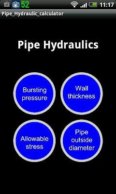 Pipe Hydraulics calculator - screenshot