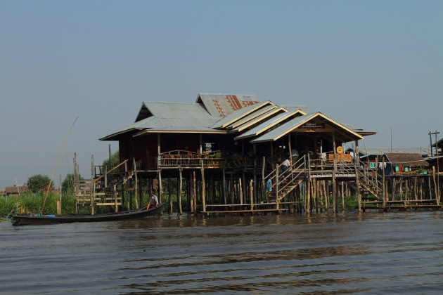 Floating restaurant on Inle Lake, Burma