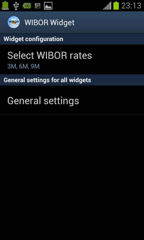 WIBOR Widget - screenshot
