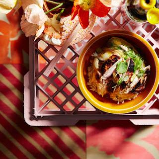 Japanese Style Crispy Chicken, Dashi And Egg Omelette Over Rice (oyakodon)