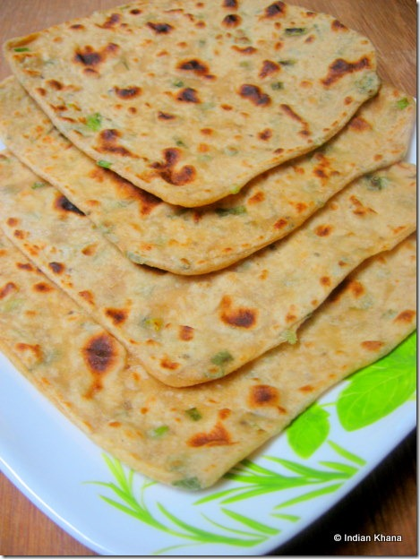 Square parathas with spring onions