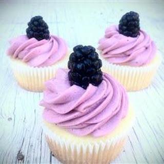 Lemon Cupcake with Blackberry Buttercream