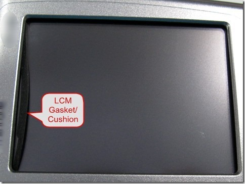 LCM gasket/chsion goes outside of the display