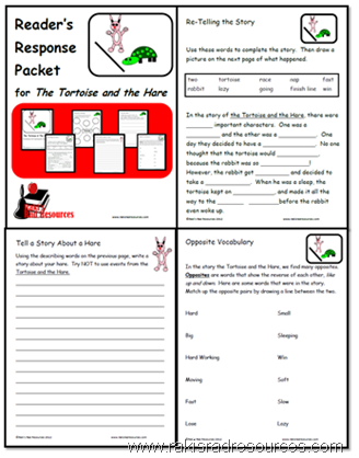 Use the Tortoise and the Hare to teach many literacy skills including vocabulary, theme and reader's response.  Free download from Raki's Rad Resources.