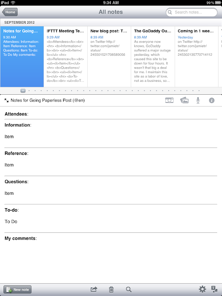 evernote meeting notes template - going paperless automating the creation of meeting