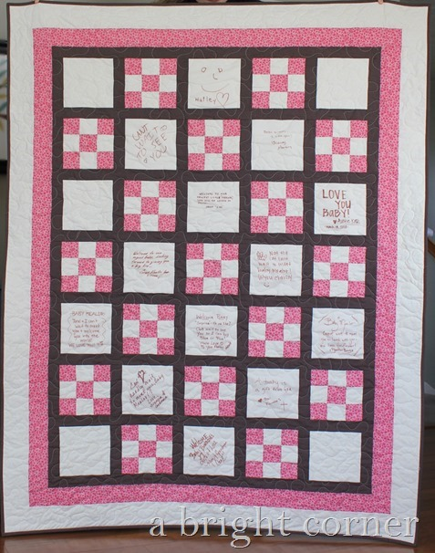 Baby shower quilt by A Bright Corner