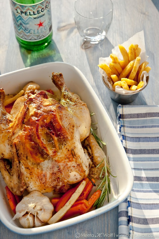 Slow Roasted Grappa Garlic and Lemon Pepper Chicken with Parsnip Fries (0008)by Meeta K. Wolff