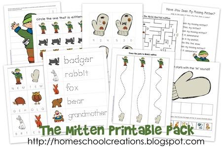 preschool activities for the book the mitten