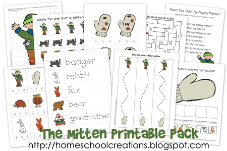 The Mitten printables collage