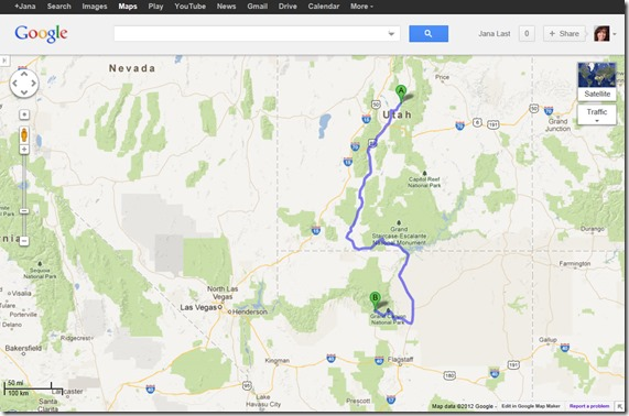 Googlemap from Manti, Utah to Grand Canyon