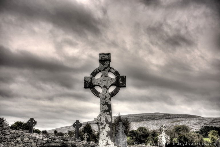 Celtic Cross in church graveyard