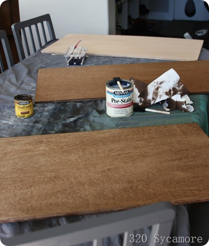 staining plywood for shelves