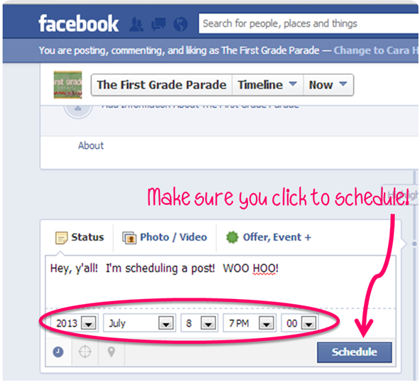 How To Schedule Your Facebook Posts - The First Grade Parade