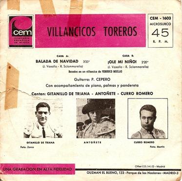 Villancicos toreros (Trasera)