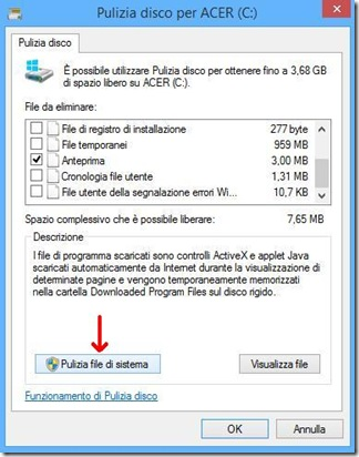 Pulizia disco Windows Pulizia file di sistema