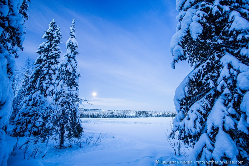 Finland blue hour lake morning lapland