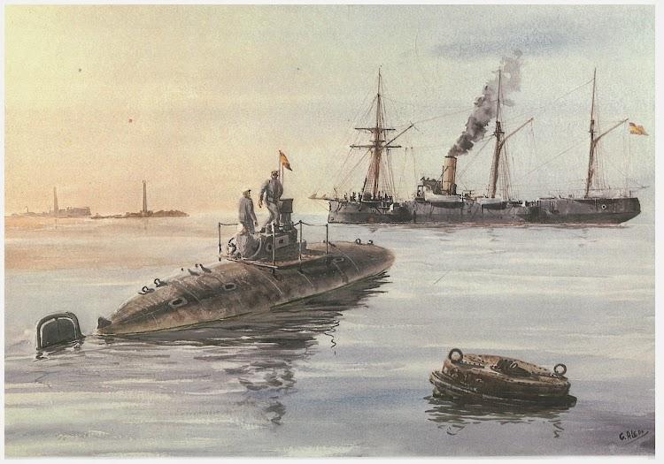 Acuarela de Aledo representando las pruebas del PERAL. Blog Catedra de Historia Naval..jpg