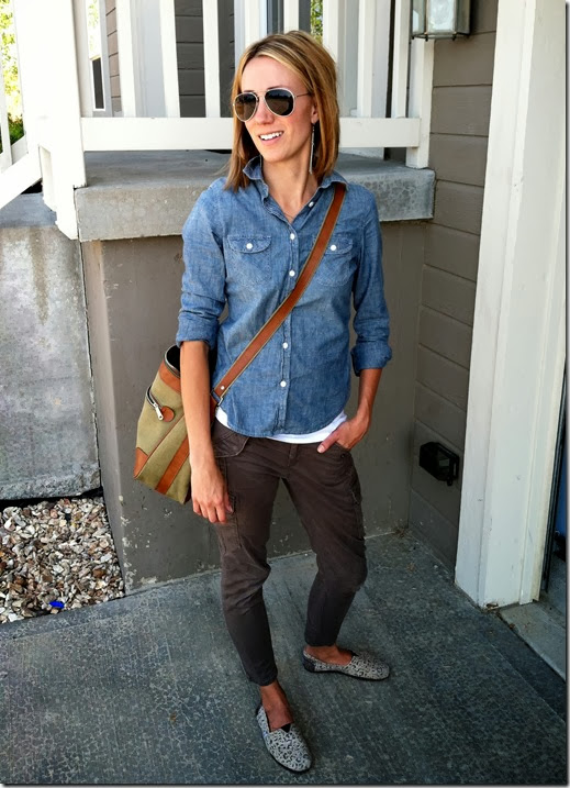 Chambray + Army Green Pants + TOMS