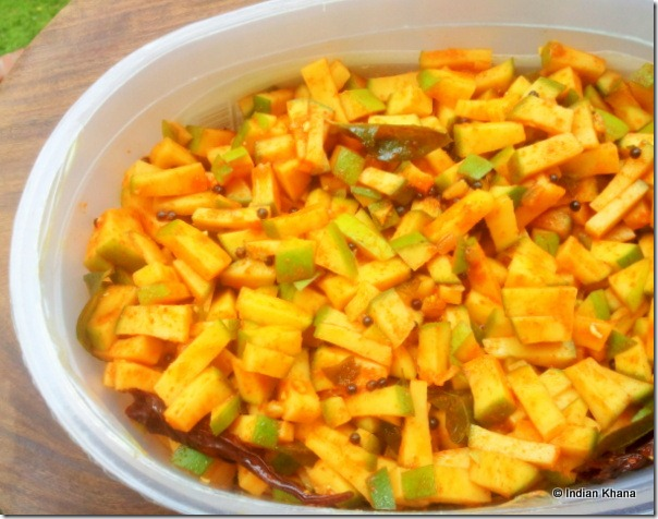 Easy South Indian Style Instant Raw Mango Pickle Recipe