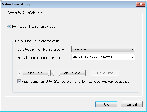 Value Formatting a dateTime result