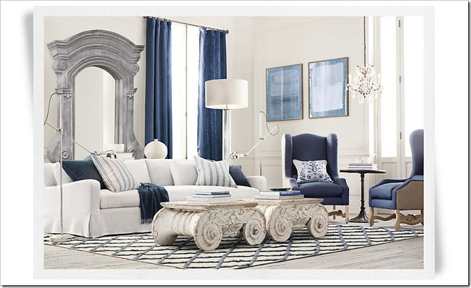 Restoration Hardware Diamante Linen Rug