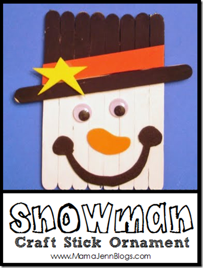 Snowman Craft Stick Christmas Banner Ornament