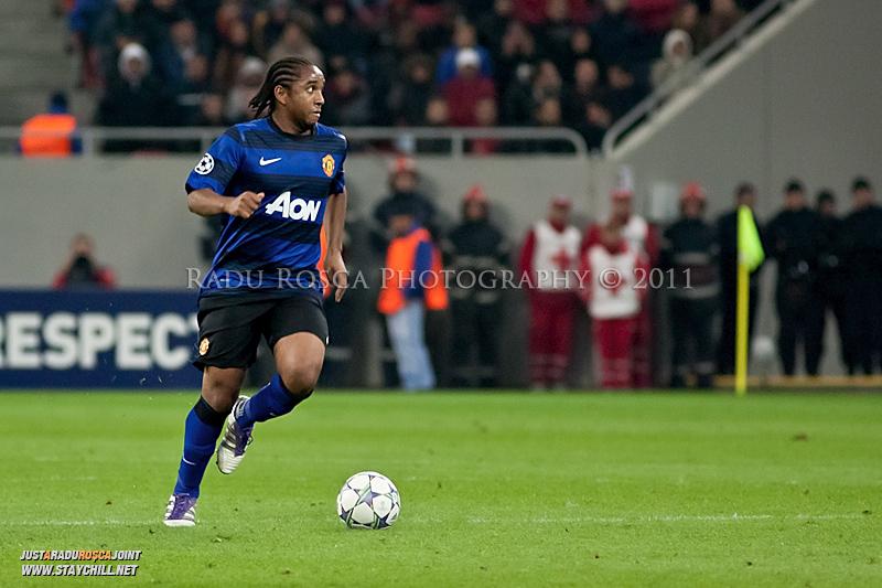 Anderson in timpul meciului dintre FC Otelul Galati si Manchester United din cadrul UEFA Champions League disputat marti, 18 octombrie 2011 pe Arena Nationala din Bucuresti.
