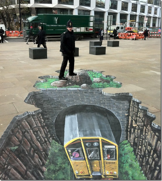 Going underground. London, England. 3D paintings