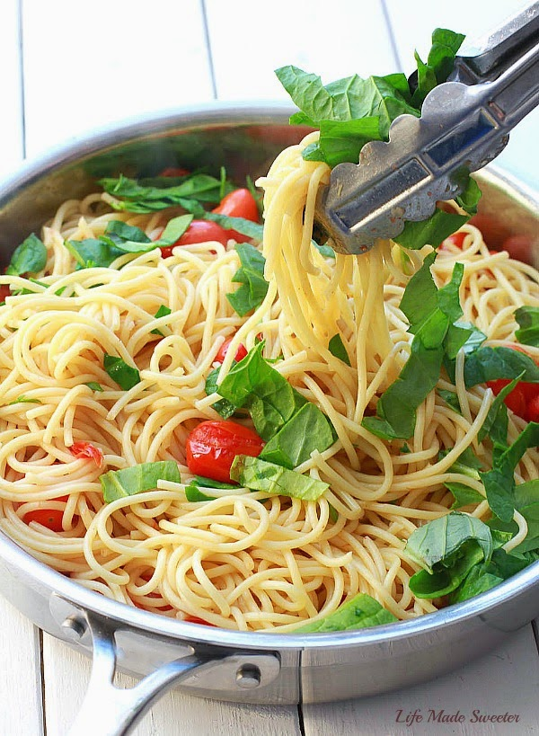 Cherry Tomato, Basil, Spinach and Parmesan Pasta from -- @LifeMadeSweeter.jpg