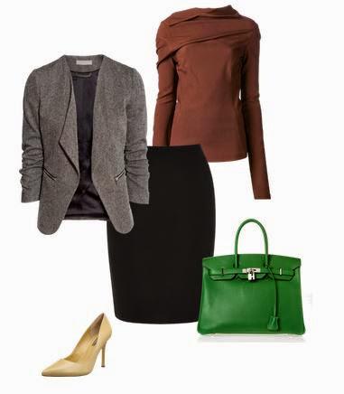 Saia pencil preta, camisola bordeaux, blazer cinza, sapatos salto beges e mala verde