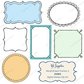DS002 Hand Drawn Frames digital stamps etsy 1