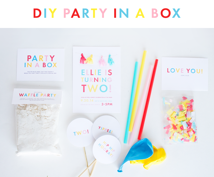 diy party in a box - waffle party - two year old party