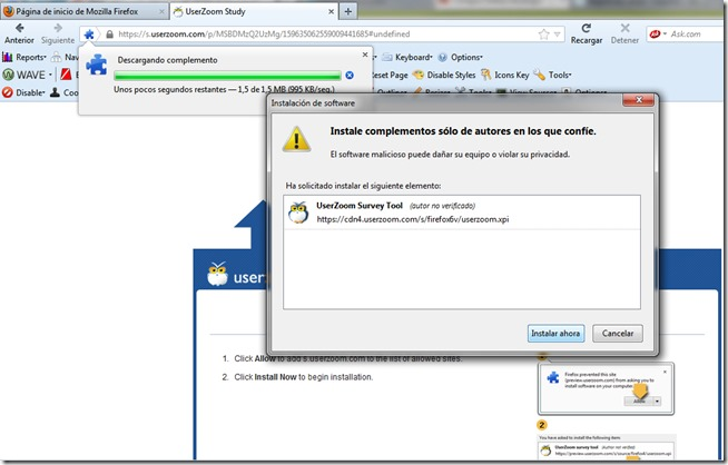 Ventana de Firefox para instalar el add-on de UserZoom