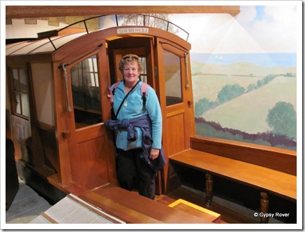 Dot on board a replica Packet boat, Maritime Museum, Lancaster. Pulled by a pair of horses at full gallop.