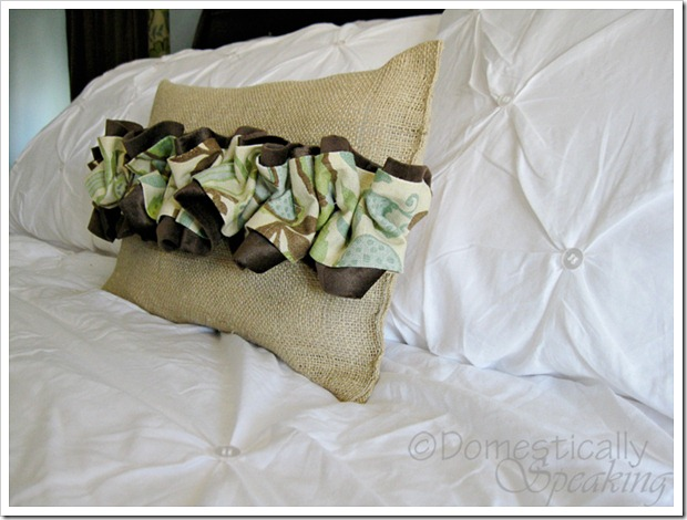 Burlap and Ruffled Pillow