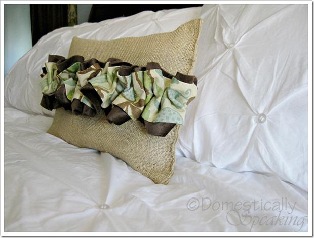 Burlap and Ruffled Pillow