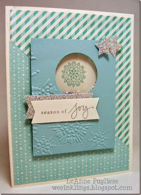 LeAnne Pugliese WeeInklings Merry Monday 107 Snowflake Shaker Christmas Card Stampin Up