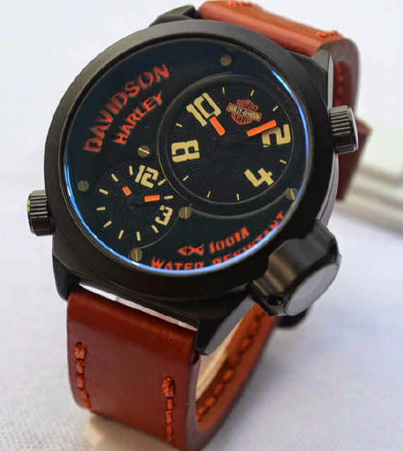 Jual Jam Tangan Harley Davidson double time brown leather ...