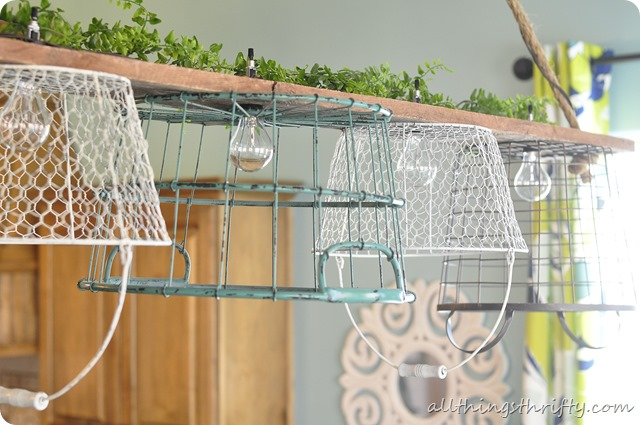 Wire basket chandelier tutorial finally all things thrifty wire egg basket chandelier aloadofball Image collections