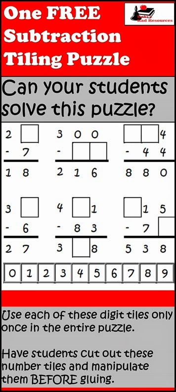 Tiling Puzzle - Subtraction with Regrouping