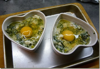 baked eggs with haddock and spinach4