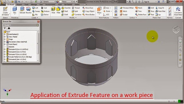 Application of Extrude Feature