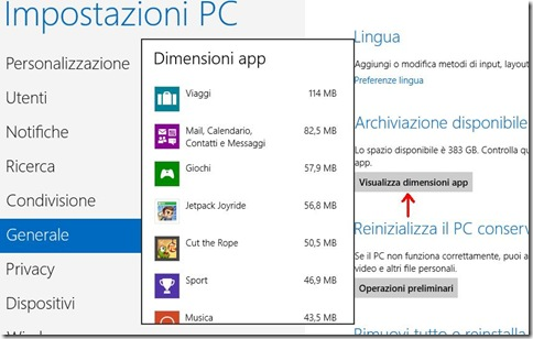 Windows 8 Visualizza dimensioni app
