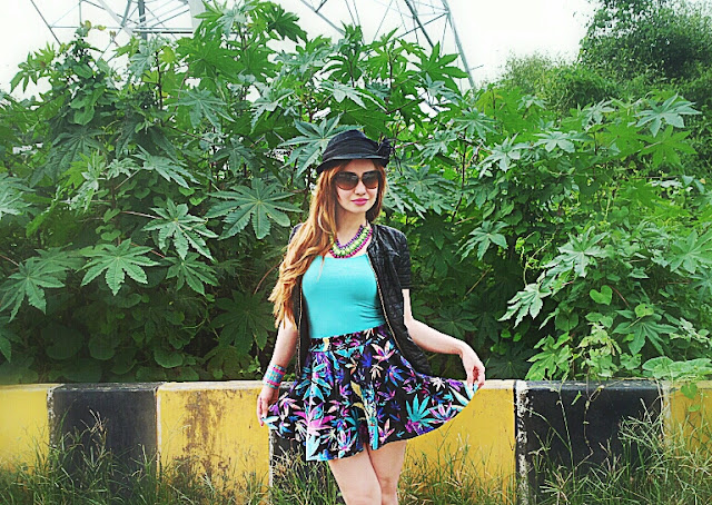Leaf Print Skater Skirt & Leather Jacket