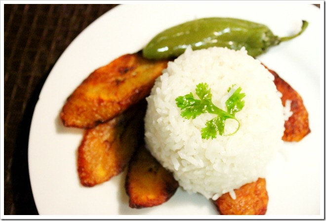 Mexican White Rice on top of fried plantains and a jalapeno