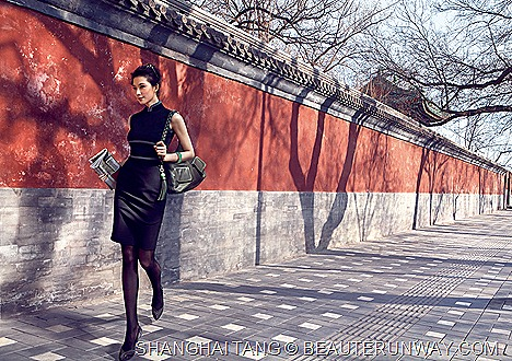 Shanghai Tang Autumn Winter 2011 Women Lin Chi Ling Wool jersey dress braid hobo chinese knots ankleboots