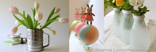 Projects on homework: vintage sifter vase, easter bunny kids' table decor, DIY sea glass from jars