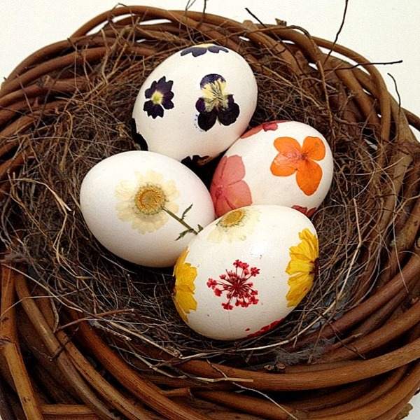 pressed flower easter eggs