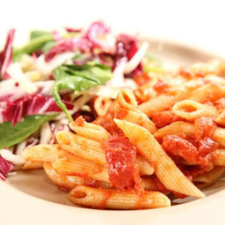 Baked Pasta with Tomatoes and Parmesan.