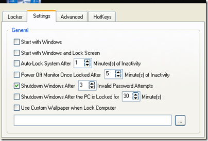 Smart PC Locker Pro Settings